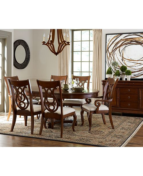 Furniture Bordeaux Pedestal Round 7-Pc. Dining Room Set (Dining ...
