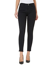 Mid-Rise Studded Skinny Ankle Jeans