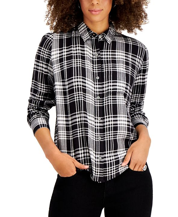 Style & Co Plaid Button-Front Top, Created for Macy's