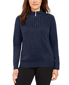 Petite Cotton Mock-Neck Sweater, Created for Macy's