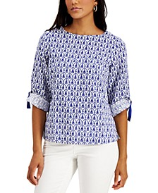 Printed Roll-Cuff Top, Created for Macy's