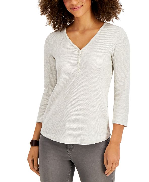Style & Co Waffle-Knit Henley Top, Created for Macy's