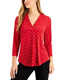 Petite 3/4-Sleeve Dual-Colored Heart Blouse, Created for Macy's