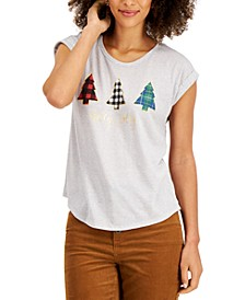 Petite Graphic Print Christmas Tree Top, Created for Macy's