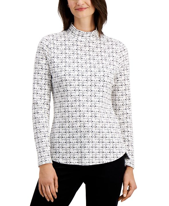 Charter Club Scottie-Print Mock Neck Cotton Top, Created for Macy's