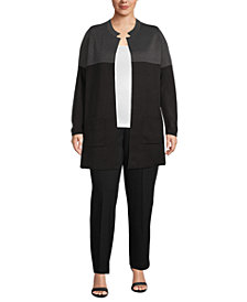 Anne Klein Plus Size Colorblocked Notched-Collar Cardigan Sweater