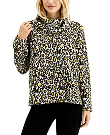 Petite Animal-Printed Cowlneck Sherpa Pullover, Created for Macy's