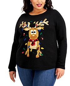 Plus Size Sequin-Embellished Reindeer Sweater, Created for Macy's