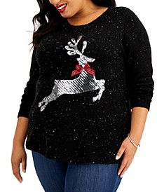 Plus Size Sequin Reindeer Sweater, Created for Macy's