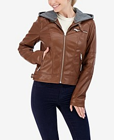 Junior's Faux Leather Detachable Hood Faux Fur Lined Moto Jacket