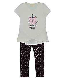 "Toddler Girl Short Sleeve Top with Sequin Embroidery Cat and ""Belive In Magic"" with Foil Star Print Legging Set"