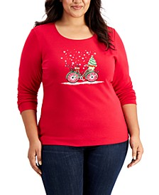 Plus Size Embellished Holiday Top, Created for Macy's