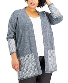 Plus Size Contrast Open-Front Cardigan, Created for Macy's