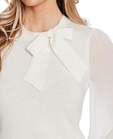 Mixed-Media Bow Sweater