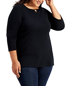 Plus Size 3/4-Sleeve Cotton Keyhole Top, Created for Macy's