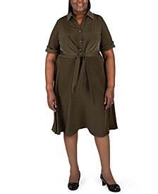 Robbie Bee Plus Size Tie-Front Shirtdress
