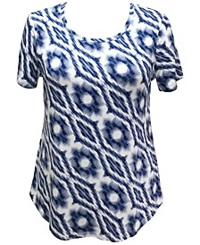 Petite Printed Curved-Hem Top, Created for Macy's