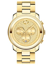 Unisex Swiss Chronograph Bold Gold Ion-Plated Steel Bracelet Watch 44mm
