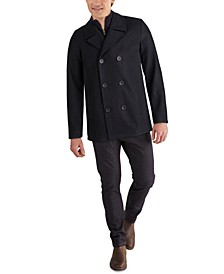 Men's Big & Tall Double-Breasted Wool-Blend Peacoat