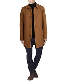 Men's Classic-Fit Car Coat with Faux-Leather Trim