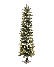 5' Prelit Frosted Pencil Christmas Tree with 200 LED Lights