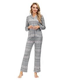 Women's Ribbon Folded Notch 2 Piece Pajama Set
