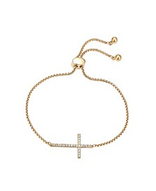Gratitude & Grace Fine Silver Plated Cubic Zirconia Sideways Cross Adjustable Bolo Bracelet in Gold