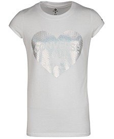 Big Girls Sequin Print Heart Logo T-Shirt
