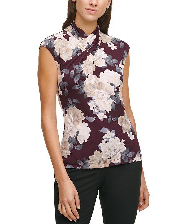 Calvin Klein Printed High-Neck Top
