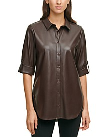 Faux-Leather Tunic Top
