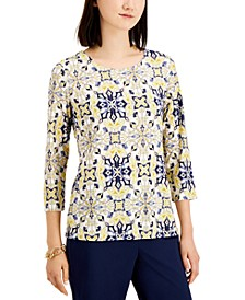 Geometric-Print Scoop-Neck Top, Created for Macy's