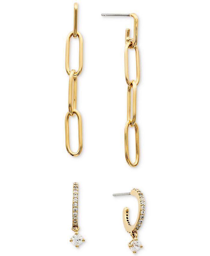 AVA NADRI - Chain Drop Earrings & Cubic Zirconia Dangle Hoop Earrings