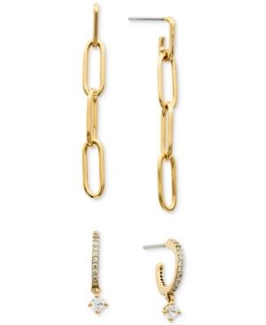 2-Pc. Set Chain Drop Earrings & Cubic Zirconia Dangle Hoop Earrings