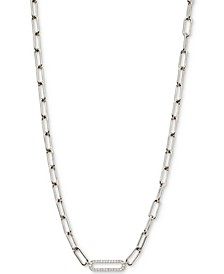 "Cubic Zirconia Oval Link Chain Collar Necklace, 16"" + 2"" extender"