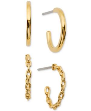 2-Pc. Set Braided & Polished Hoop Earrings