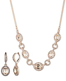 2-Pc. Set Stone & Crystal Statement Necklace & Matching Drop Earrings