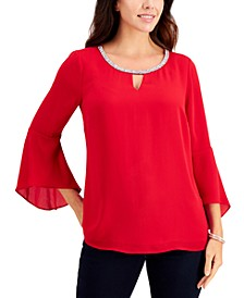 Bell-Sleeve Rhinestone-Neck Top, Created for Macy's