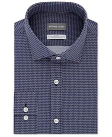 Men's Slim-Fit Non-Iron Performance Stretch Geo Knit Dress Shirt