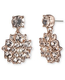 Rose Gold-Tone Imitation Pearl & Crystal Flower Drop Earrings
