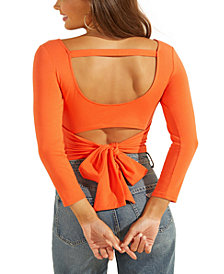 GUESS Jeani Solid Cutout Tie-Back Top