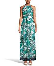 INC Palm-Print Halter-Neck Maxi Dress, Created for Macy's