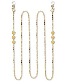 """Mariner Link Heart 25"""" Glasses or Face Mask Chain in Fine Silver or Gold Plate"""