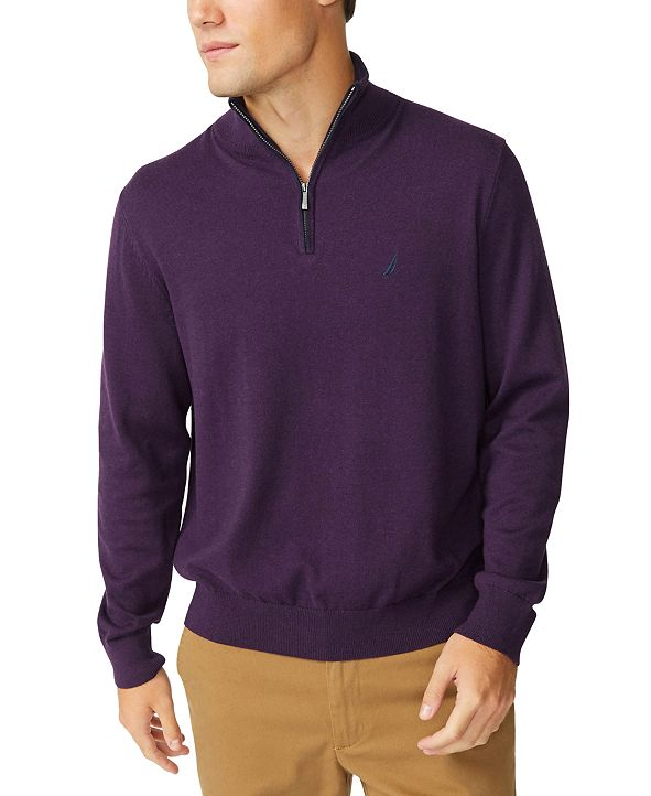 Nautica Men's Navtech Classic-Fit Quarter Zip Sweater