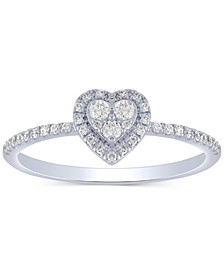 Diamond Heart Cluster Ring (1/4 ct. t.w.) in 10k White Gold