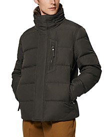 Men's Horizon Quilted Puffer Jacket with Hidden Hood & Removable Faux-Fur Trim