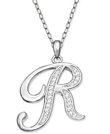 """Cubic Zirconia 18"""" Initial Cursive Christmas Pendant Necklace in Sterling Silver in Ornament Box, Created for Macy's"""
