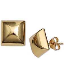 Polished Square Stud Earrings in 18k Gold-Plated Sterling Silver, Created for Macy's