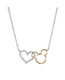 Two-Tone Mickey Mouse Cubic Zirconia Heart Pendant Necklace in Fine Silver Plate