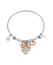 "Two-Tone Minnie Mouse ""2021"" Bangle Bracelet in Fine Silver Plate"