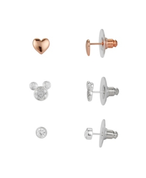 Disney Earrings TWO-TONE MICKEY MOUSE EARRING SET WITH ROSE GOLD-TONE HEART AND BEZEL CUBIC ZIRCONIA STUD EARRING